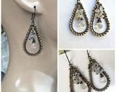 50% OFF SALE Moonstone Earrings, Ceylon Moonstone Gem Hoop, Wire Wrap Gold Hematite, Wire Wrap Oxidized Silver Hoop Earrings Mixed Metal Urb