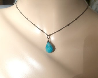 Turquoise Necklace Wire Wrapped Turquoise Briolette Dangle Choker Oxidized  Sterling Silver December Birthstone