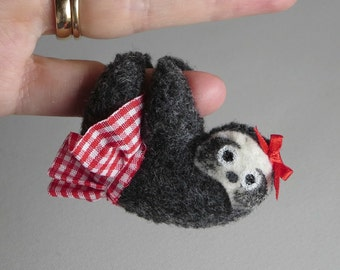 Sloth miniature felt plush stuffed animal with red skirt and bow- bendable legs and hand painted face -rain forest animal