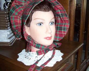 Dicken's Christmas Ladies Adult Bonnet in cotton plaid red and green homespun fabric,Adult Costume