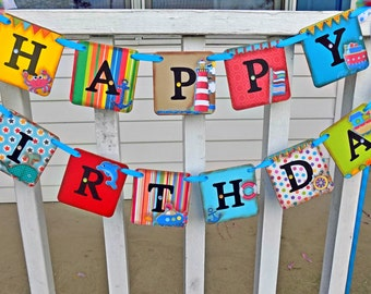 Happy Birthday Sign-Nautical 1st Birthday Banner-Birthday Banner-Smash Cake Photo-Birthday Decorations-Party Decorations-1st Birthday Banner