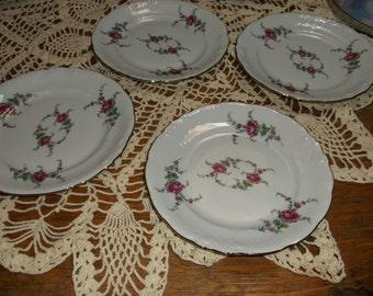 Vintage Wawel Poland Garden Rose dessert plates Set of 4 Excellent