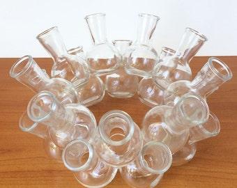 Mid Century Modern Cluster Vase /  Glass  / 18 Small Vases / Glass Flower Frog