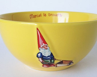 Gnome Bowl, Kiss that Frog Yellow Latte Bowl, Vintage French Ceramic Cereal Bowl, Marcel la brouette, Wheeelbarrow