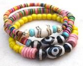 Colorful tribal bead bracelets, tropical bracelets, boho chic African vulcanite bracelets, vinyl record disc bracelets, ethnic jewelry