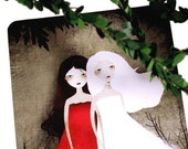 SUMMER SALE - 40% OFF - Snow-White and Rose-Red - Postcard