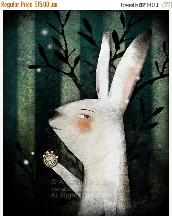 30% Off Halloween Sale - The White Rabbit (Alice in Wonderland) - open edition print