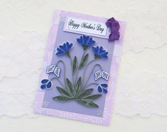 Birthday Personalized Card,Paper Quilling Card, Paper Quilled, 50 60 70 80 90 Mom,Daughter,Keepsake,Mothers Day Lavender, handmade Australia