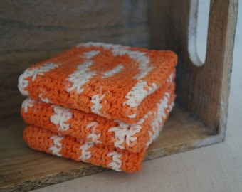 """Dish Cloths, Cotton - Orange and White - Crocheted 3 Piece Set """"Dreamcicle"""""""