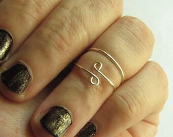 2 Plain Knuckle Rings / Pair of Midis - Handmade. Tarnish Resistant. Hypoallergenic. Adjustable. Personalized ring