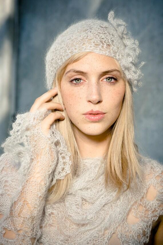 flapper shawl, flapper hat, gatsby wedding, winter wedding set, wedding shawl set,  knit wrap, hat and arm warmers, flapper wrap