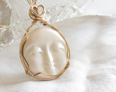 Carved Bone Moon Pendant - I Love You to the Moon