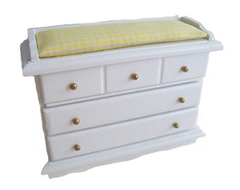Miniature yellow/white changing chest for the babies room in the dollhouse