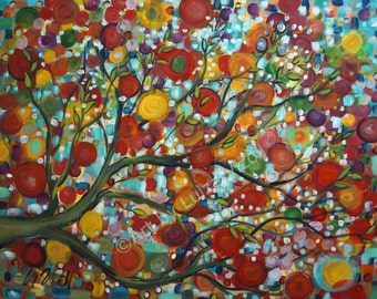 Large Canvas Original Painting Tree APPLE blossom  Landscape Oil Painting -red,orange,green,yellow -one of a kind fine art by Luiza Vizoli