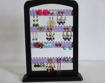 jewelry  rack, Earring rack , FREE SHIPPING!  jewelry holder, earring organizer display LAVENDER wood with stand