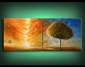 """art abstract painting Original painting art original abstract painting tree painting oil acrylic painting 56 x 22 x 1.5"""" thick"""