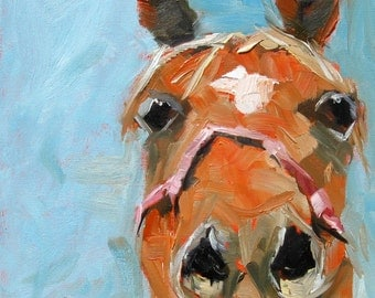 Country Horse Art Horse Wall Art Original Oil Portrait with Free Shipping Orange and Blue Oil Painting 12 x 12