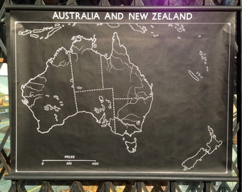 Vintage Mid Century Chalk Outline School Roll Up Classroom Map of Australia and New Zealand