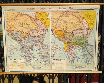 Vintage School Map of the Balkans Pull Down European History Classroom