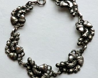 Vintage Sterling Silver Bracelet Acorn Oak Leaf Signed Viking Craft Autumn
