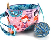 Knitting Crochet Project Bag Clutch - Cherry Blossom