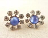SALE ---- Vintage Faux Blue Cats Eye and Rhinestone Flower Screw Back Earrings