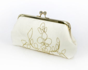 Ivory Bridal Clutch with gold thread 8-inches | Bridesmaid Gift |Bridal Clutch