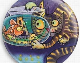 Needle Minder - Licensed Art, Duck, Dorian Davies Spencer, Needle Minder Cross Stitch Keeper, Fridge Magnet, Cat & Fish Bowl, Magnet
