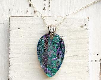 Multi Layered Teardrop - Fused Glass Pendant Necklace - Fused Glass Jewelry -Dichroic Fused Glass - Necklace - Fused Dichroic Jewelry