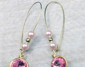 ON SALE 20% OFF Pink Swarovski Rivoli with Glass Pearls and Gold ball earrins