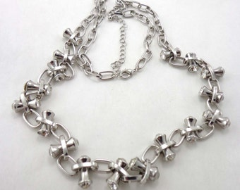 "Rhinestone Necklace Modernist Silver Tone 30"" Long Vintage 724"