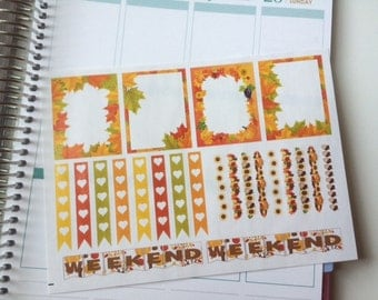 Planner Stickers Fall Full Boxes Strips and Weekends Perfect For The Erin Condren Planner