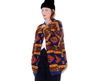 Southwest Fleece Jacket / one size / native american geometric striped fleece jacket cocoon coat bomber vintage 90s clothing
