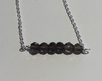 Delicate sterling silver chain with smoky quartz gemstones