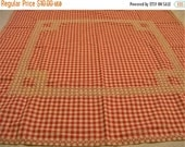 Small Tablecloth, Red Tablecloth, Gingham Tablecloth, Red and White Gingham Tablecloth, Cross Stitch Embroidery, Chicken Scratch Embroidery