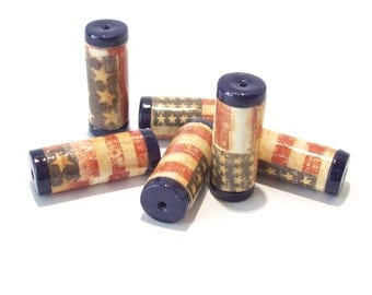 Patriotic Tube Beads -  Paper and Polymer Clay - Stars and Stripes