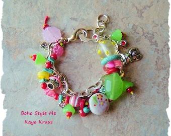 SALE - Boho Charm Bracelet, Bohemian Jewelry, Lolita Candy Color Jewelry, BohoStyleMe, Kaye Kraus