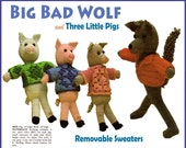 Big Bad Wolf and Three Little Pigs Crochet Patterns toy crochet pattern toy patterns JB115 PDF