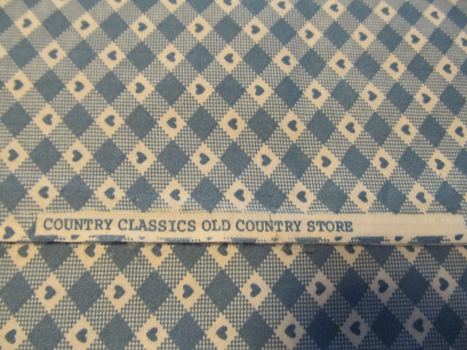 Free Shipping! Country Classics Blue Heart Gingham. 1/2 Yard. 16108 ...