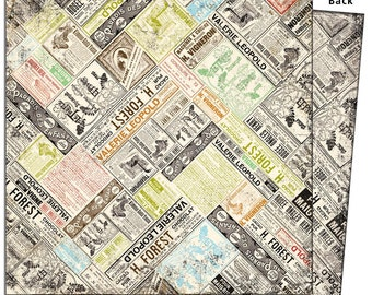 """7 Gypsies Avignon collection- 12x12 double-sided scrapbook paper """"Annonce"""""""