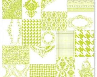 """Hambly Screenprints- 12x12 clear transparent plastic overlay """"Patchwork in Lime Green"""""""
