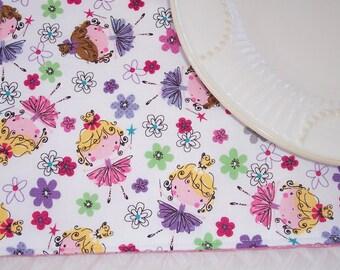 Single Fabric Placemat, Girls Placemat, Dancing Flowers, Ballet Placemat, Ballerina Placemat, School Placemat, Cloth Placemat, Pink Placemat