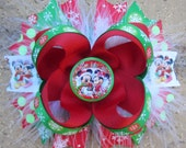 Mickey & Minnie Mouse Inspired Holiday Christmas Hair Bow for Disney World or Disneyland Vacation or Birthday Party OTT marabou