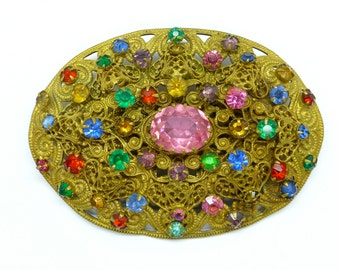 ON SALE*Large Antique Bohemian brass filigree brooch c1900- 1920's Vintage Czech/ Czechoslovakia Art Deco Multi colour Rhinestone jewellery
