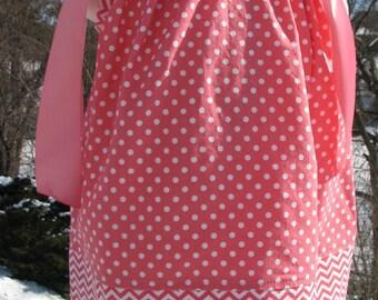 coral pillowcase dress, spring pillowcase dress, easter pillowcase dress, valetine pillowcase dress