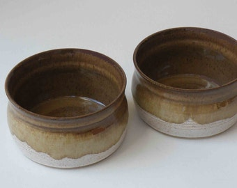 Pair of Crocks, Brown, Caramel with Speckled White Crocks, 2 cups, Ice Cream or Soup Bowls, Rustic, Stoneware, Kitchen