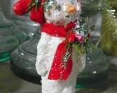 One of a kind Sculpted Paper Mache Folk Art Snowman Ornament
