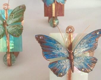 Butterfly night light, Glass, Cottage Chic, Stained Glass night light, Copper, Swarovski, Copper Night Light, hostess gift