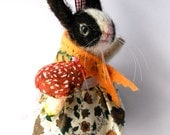 An Original Needle Felted Dutch Rabbit with Spun Cotton Spotty Toadstool