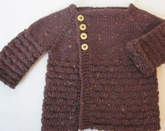 Little Girl's Hand Knit Cardigan with asymmetrical closure- Baby Girl's Hand Knit Cardigan